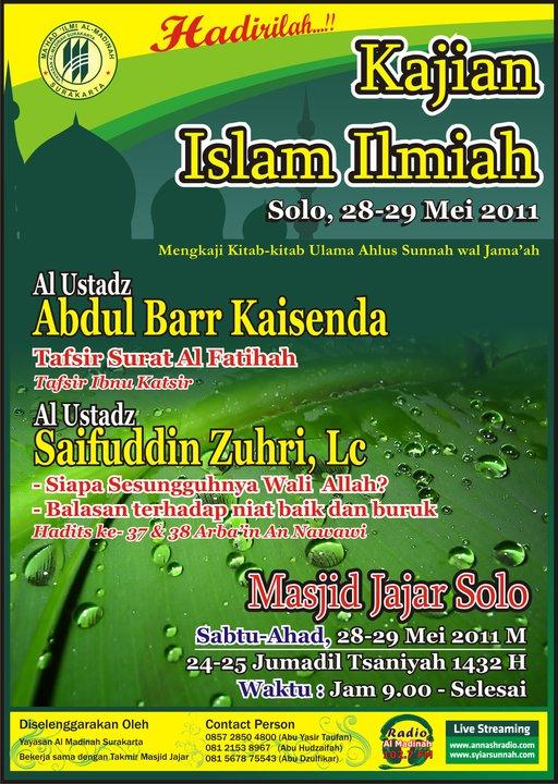 Dauroh Masjid Jajar Solo bersama Ustadz Abdul Barr dan Ustadz Saifuddin Zuhri (Solo, 28-29 Mei 2011)