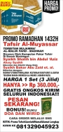 PROMO RAMADHAN 1432H: TAFSIR Al-MUYASSAR (3 JILID) GRATIS ONGKIR SELURUH INDONESIA (BONUS BUKU DOA DANWIRID!)