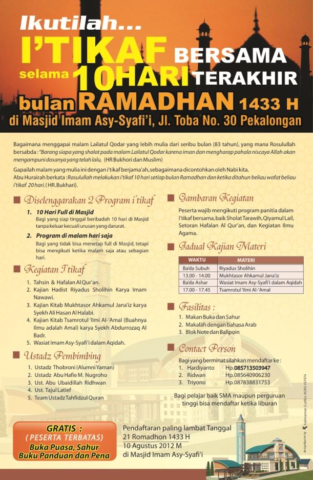 Ikutilah I'tikaf bersama selama 10 hari terakhir bulan Ramadhan 1433