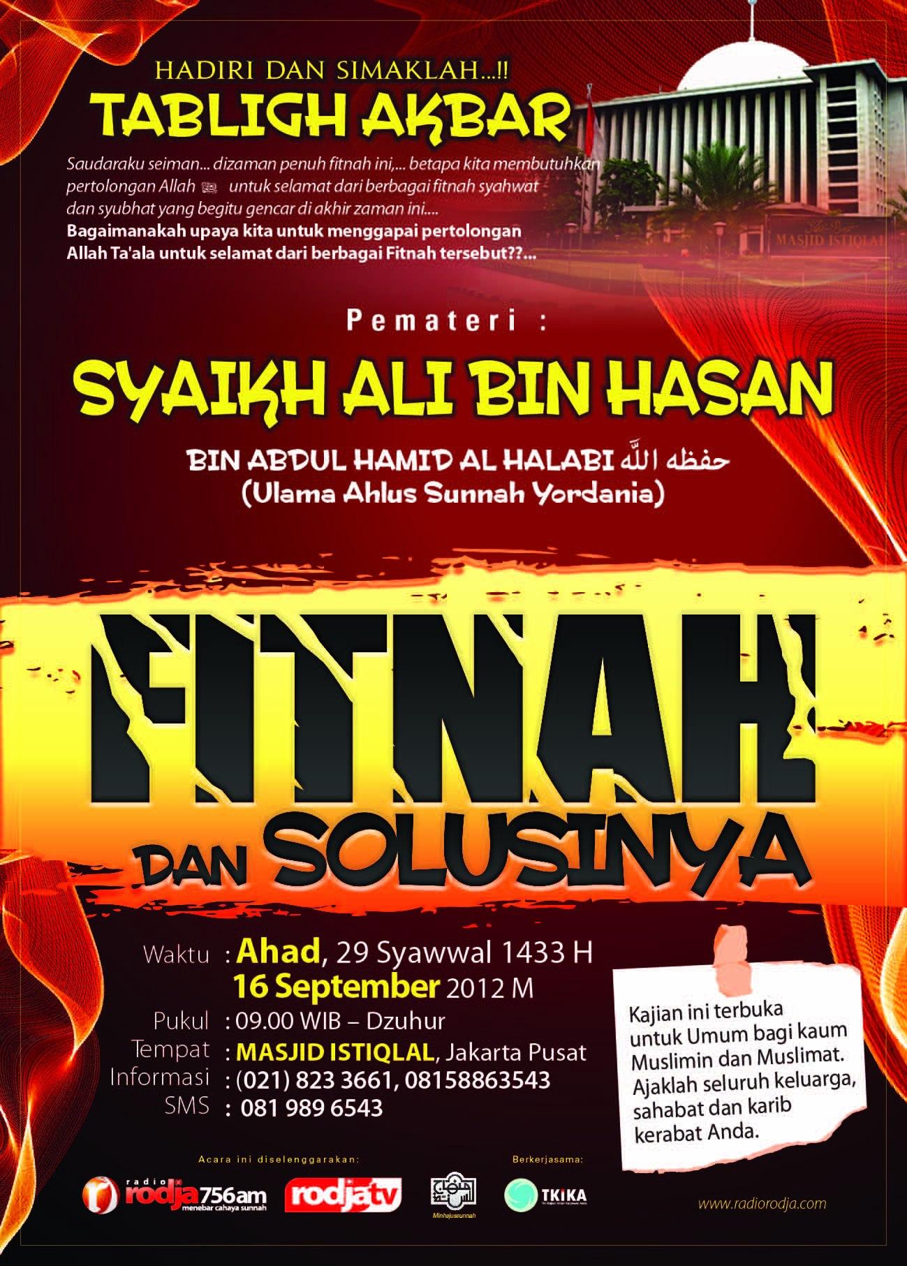 Tabligh Akbar Syaikh Ali bin Hasan Al-Halabi Tentang Fitnah dan Solusinya