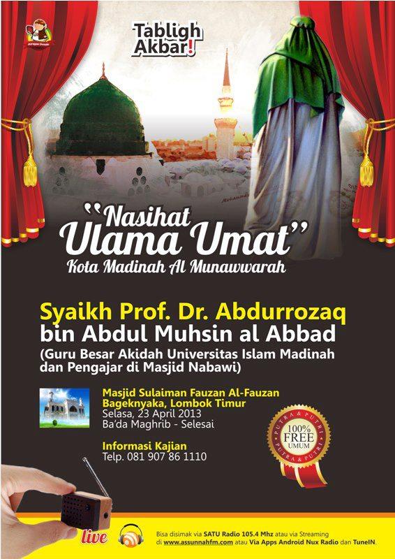 Tabligh Akbar Bersama Syaikh Abdurrazzaq Al-Abbad di Lombok (23 April 2013)
