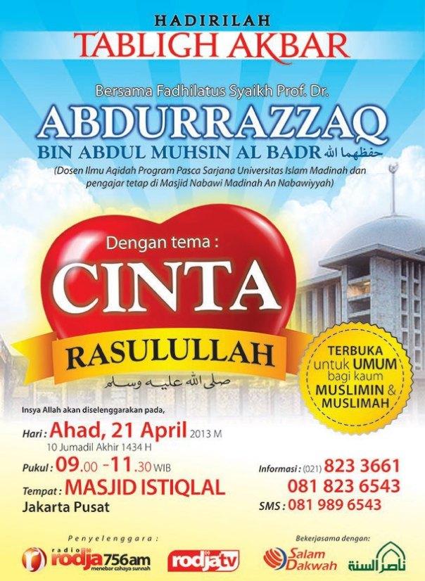 Tabligh Akbar Syaikh Abdurrazzaq di masjid Istiqlal Jakarta