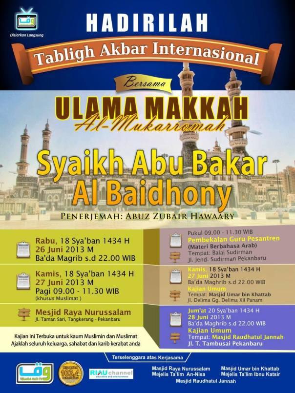Safari Dakwah Syaikh Abu Bakar Al-Baidhony Al-Makki di Riau